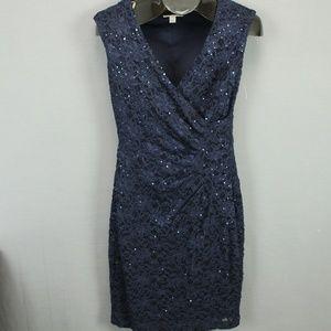 Dress Barn Sparkly Cocktail Knee Dress Size 4 Blue